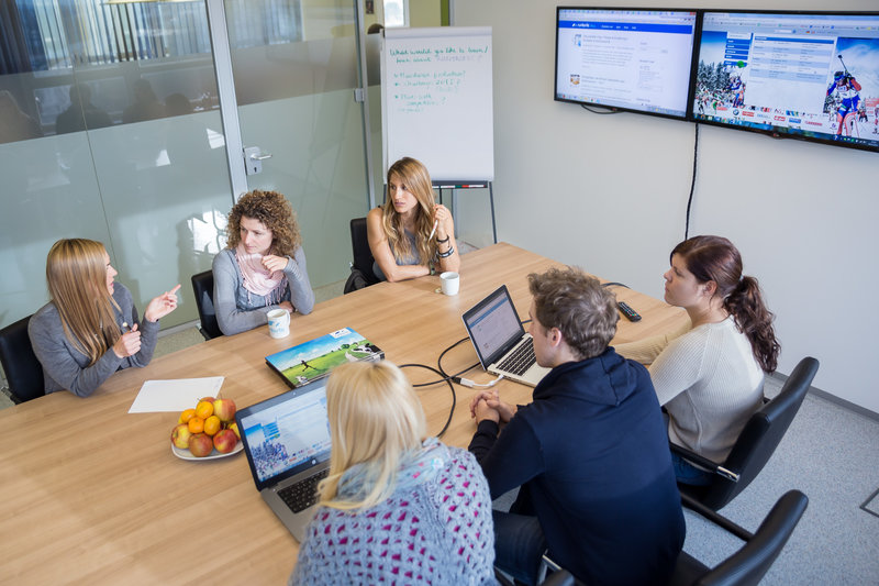 Group of colleagues at a meeting in the office