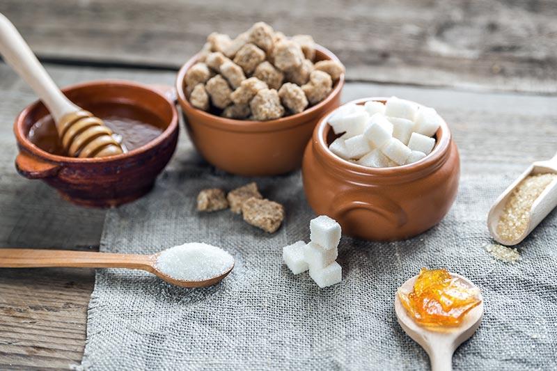 Verschiedene Zuckerformen und Honig in Schüsseln