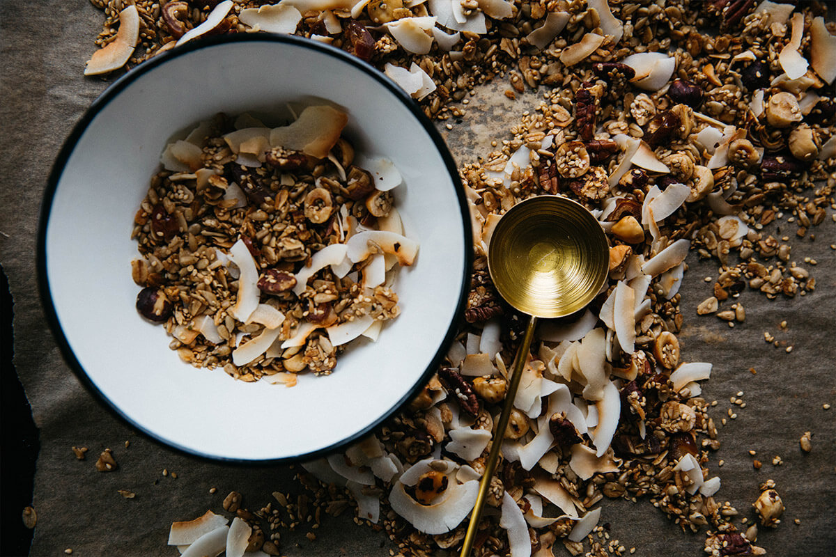 A bowl with granola