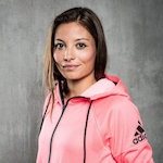 portrait of woman in Adidas clothes