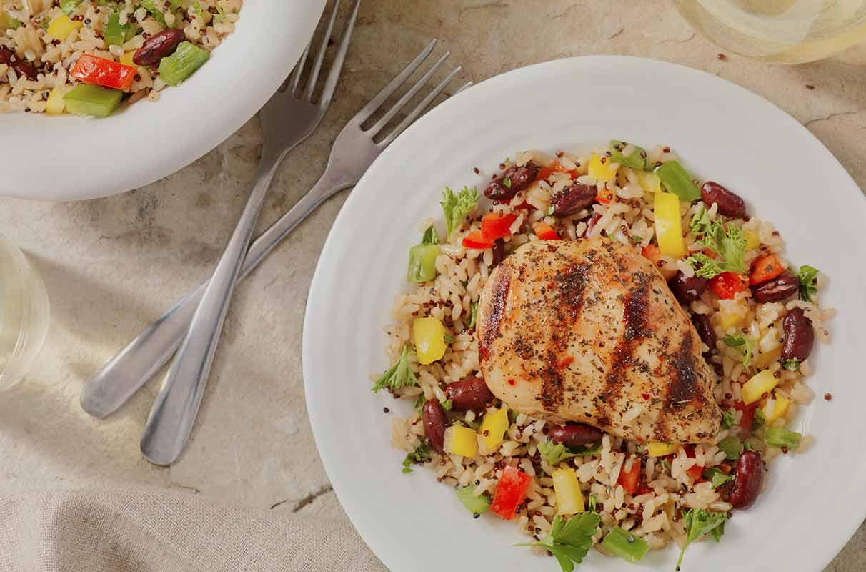 Pollo con riso integrale e verdure