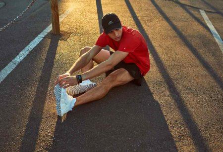 Man stretching legs