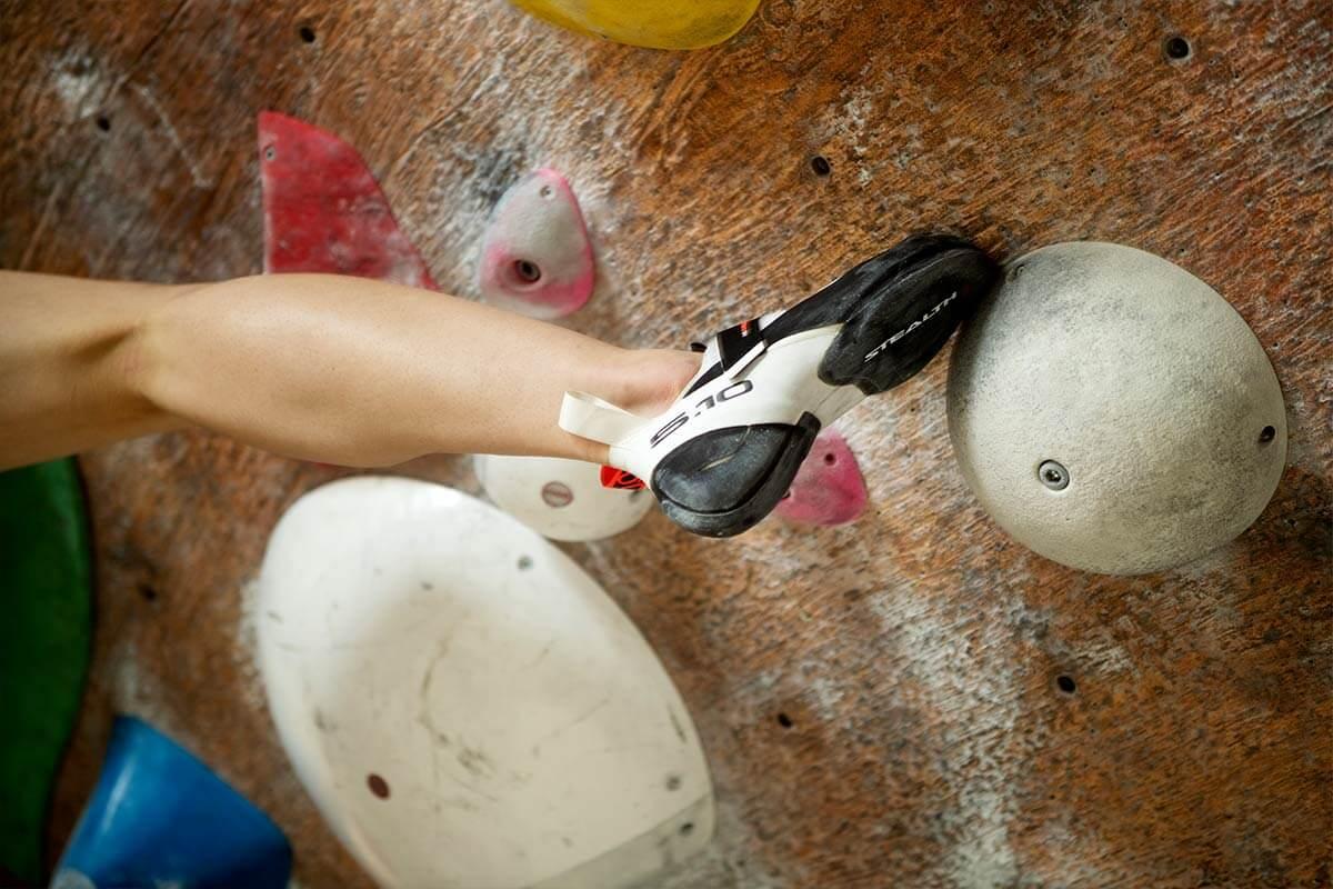 Close up of climber's leg