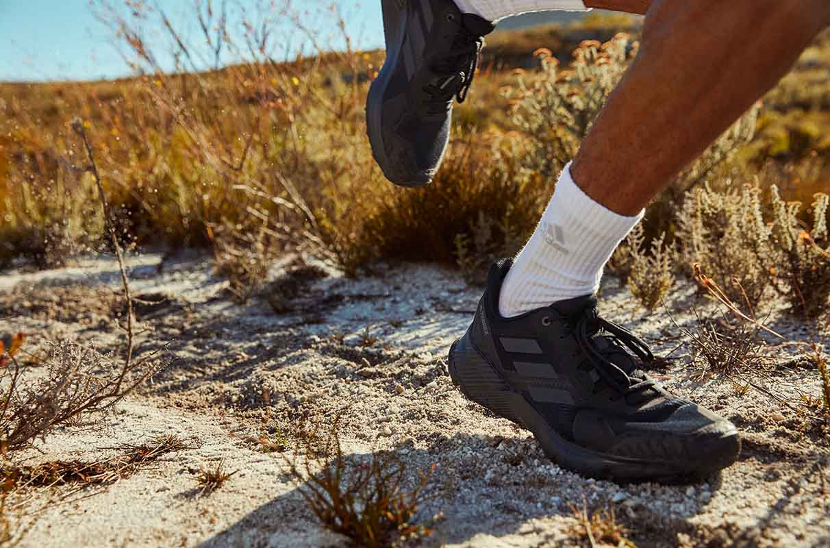 ankle close up of a trail runner
