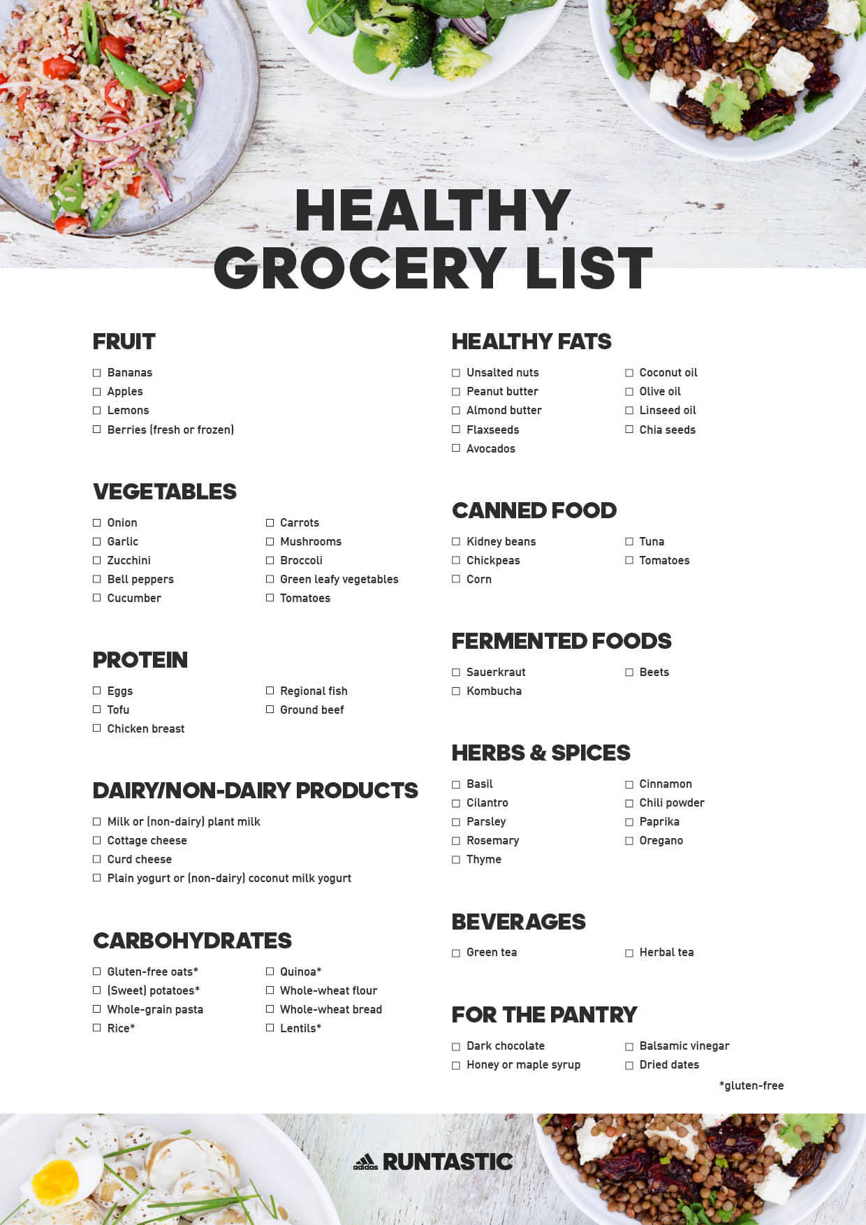 Healthy Shopping List: 13 Pantry Essentials ᐅ Download free PDF!