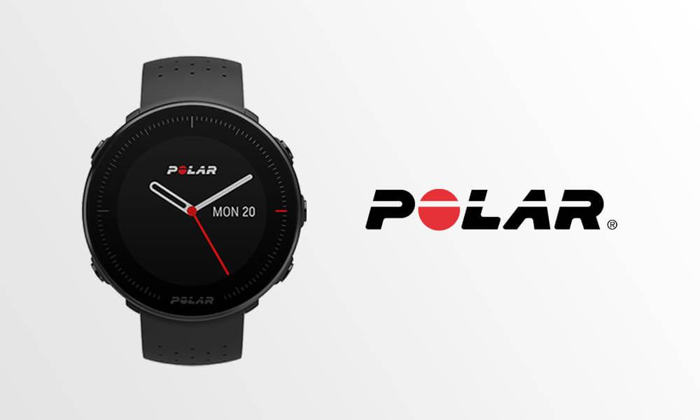 Relógio inteligente preto da marca Polar